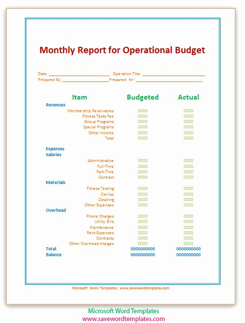 Monthly Operations Report Template Lovely Free Word Templates September 2013