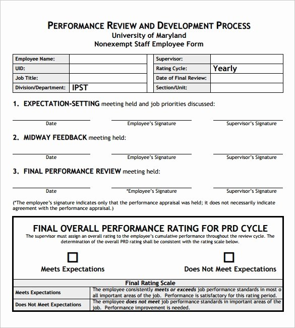 Monthly Performance Review Template Inspirational Sample Employee Review Template 7 Free Documents