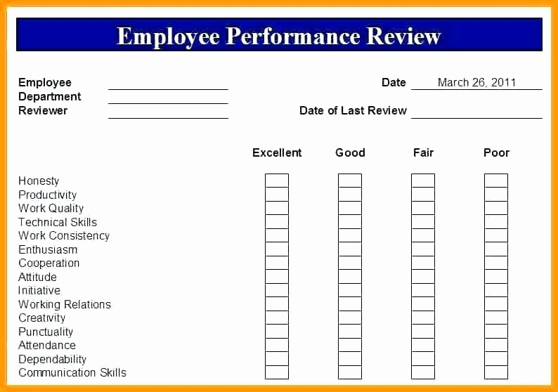 Monthly Performance Review Template Lovely Employee Review Template Excel Monthly Employee Review