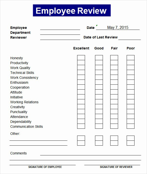 Monthly Performance Review Template Lovely Sample Employee Review Template 7 Free Documents