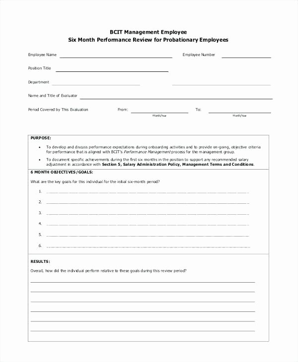 Monthly Performance Review Template Lovely Trump Blue 6 Month Performance Review Template Employment