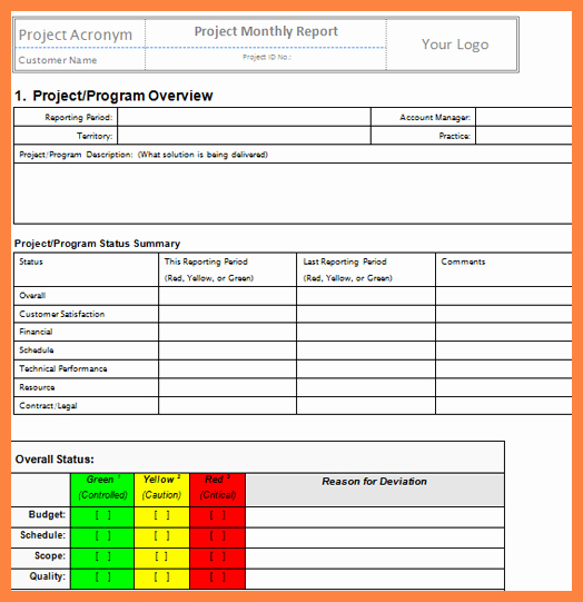 Monthly Report Template for Manager Awesome 6 Project Management Progress Report Template