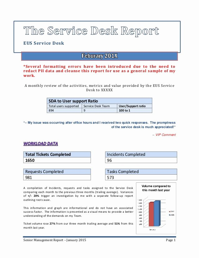 Monthly Report Template for Manager Elegant Senior Management Service Desk Report Sample