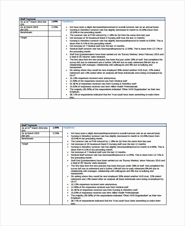 Monthly Report Template for Manager New 17 Sample Hr Reports