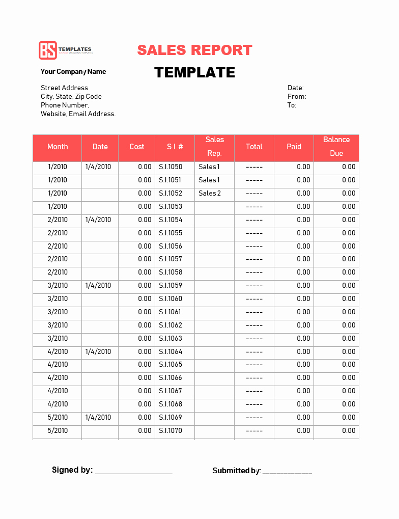 Monthly Sales Report Template Excel Elegant Sales Report Templates – 10 Monthly and Weekly Sales