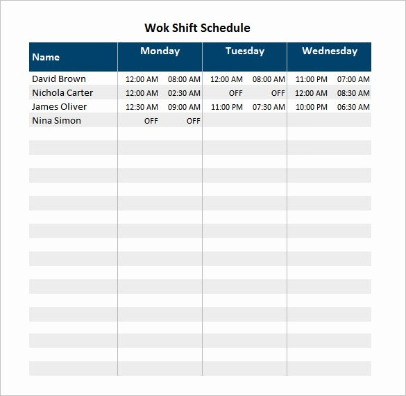Monthly Shift Schedule Template Awesome 6 Staff Schedule Templates Doc Pdf Excel