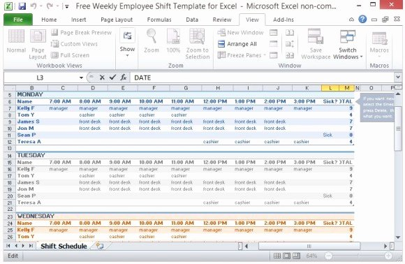 Monthly Shift Schedule Template Beautiful Free Weekly Employee Shift Template for Excel