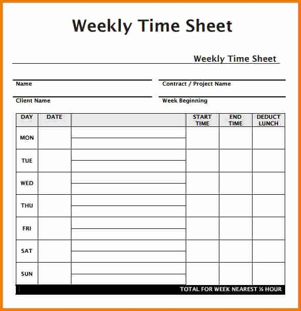 Monthly Time Card Template Awesome Weekly Timesheet Template