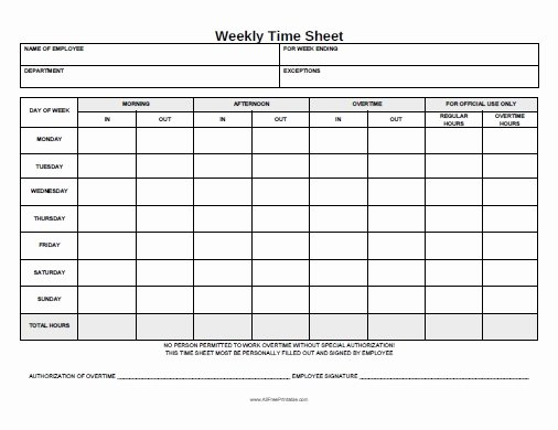 Monthly Time Card Template Beautiful Weekly Time Sheet Free Printable Allfreeprintable