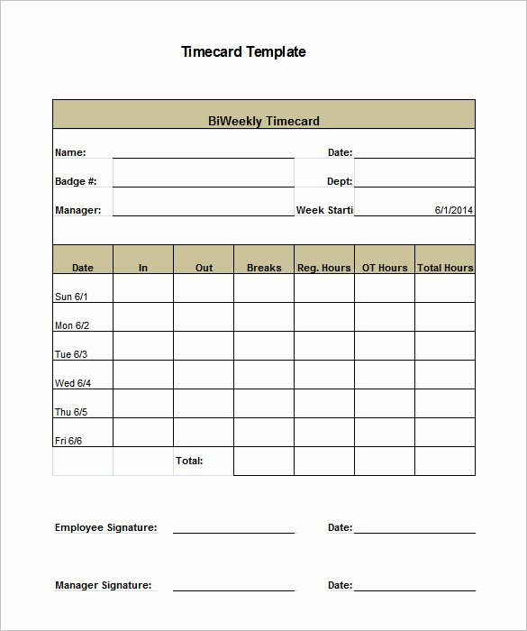 Monthly Time Card Template Fresh 7 Printable Time Card Templates Doc Excel Pdf
