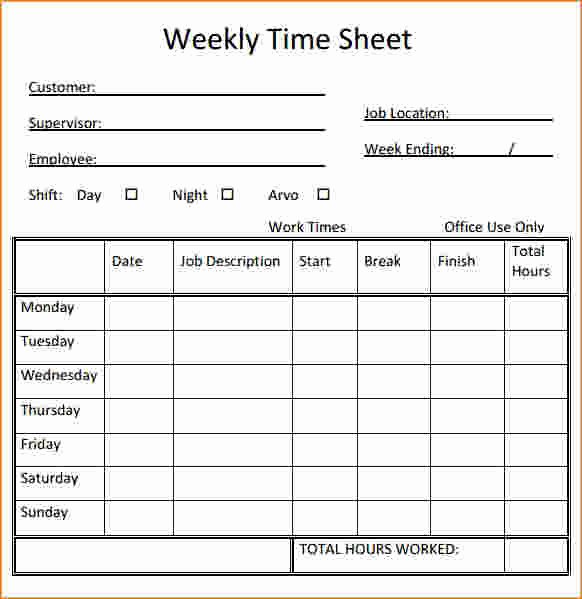 Monthly Time Card Template Fresh 7 Printable Timesheet
