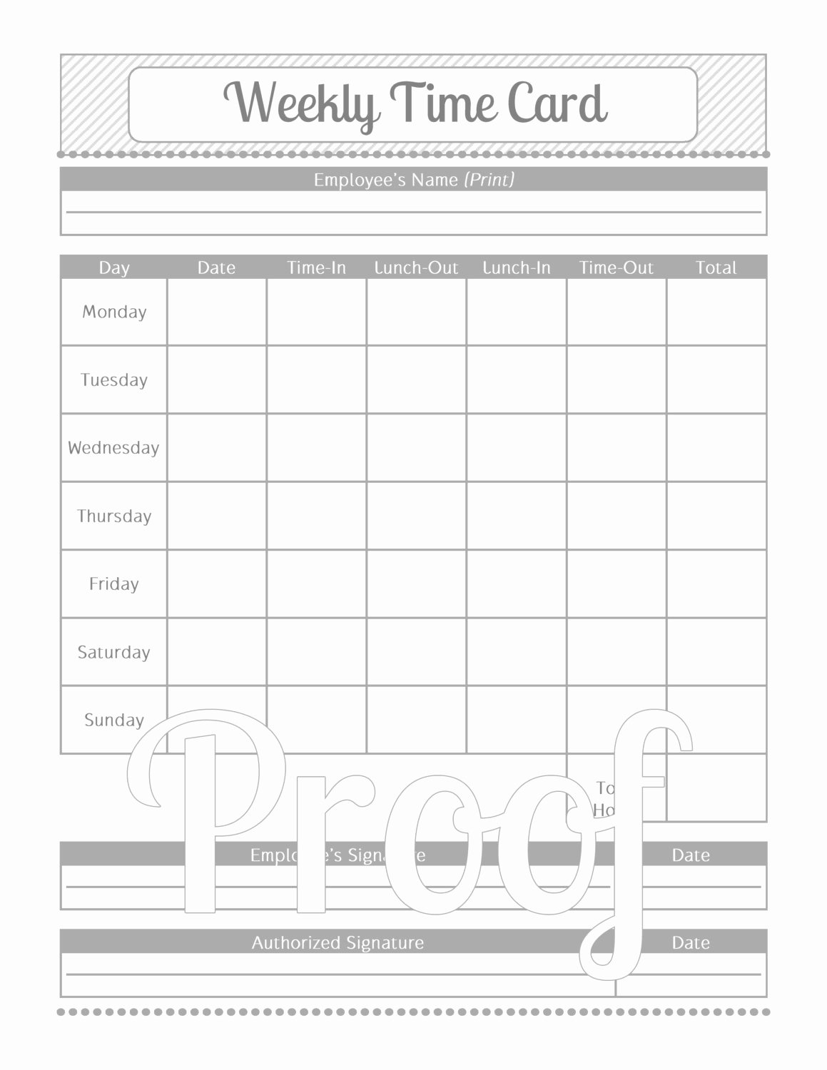 Monthly Time Card Template Fresh Weekly Time Card Grey and White Instant by