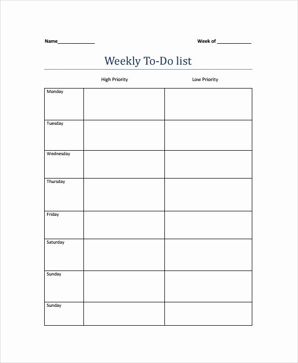 Monthly to Do List Template Elegant 9 Weekly to Do List Templates