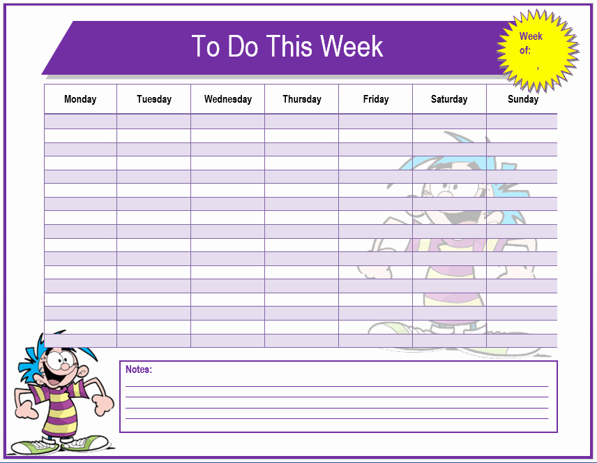 Monthly to Do List Template Fresh Weekly to Do List Template Microsoft Word Templates