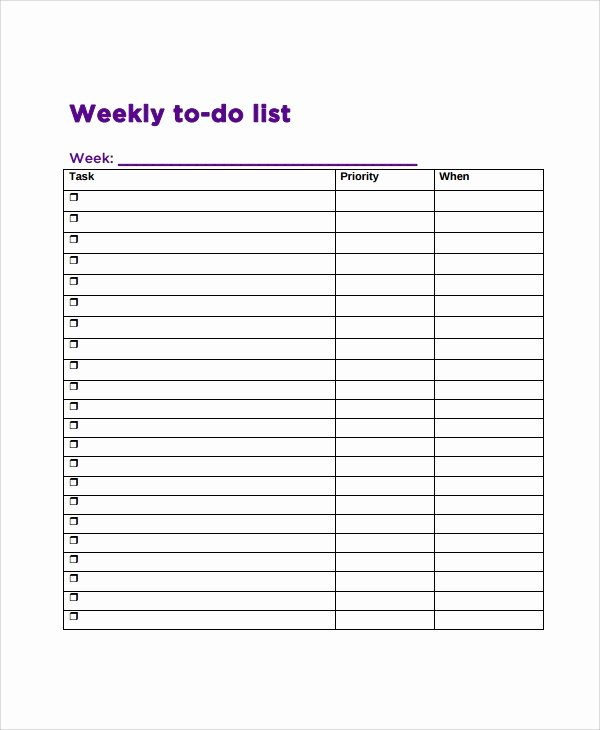 Monthly to Do List Template Inspirational 9 Weekly to Do List Templates