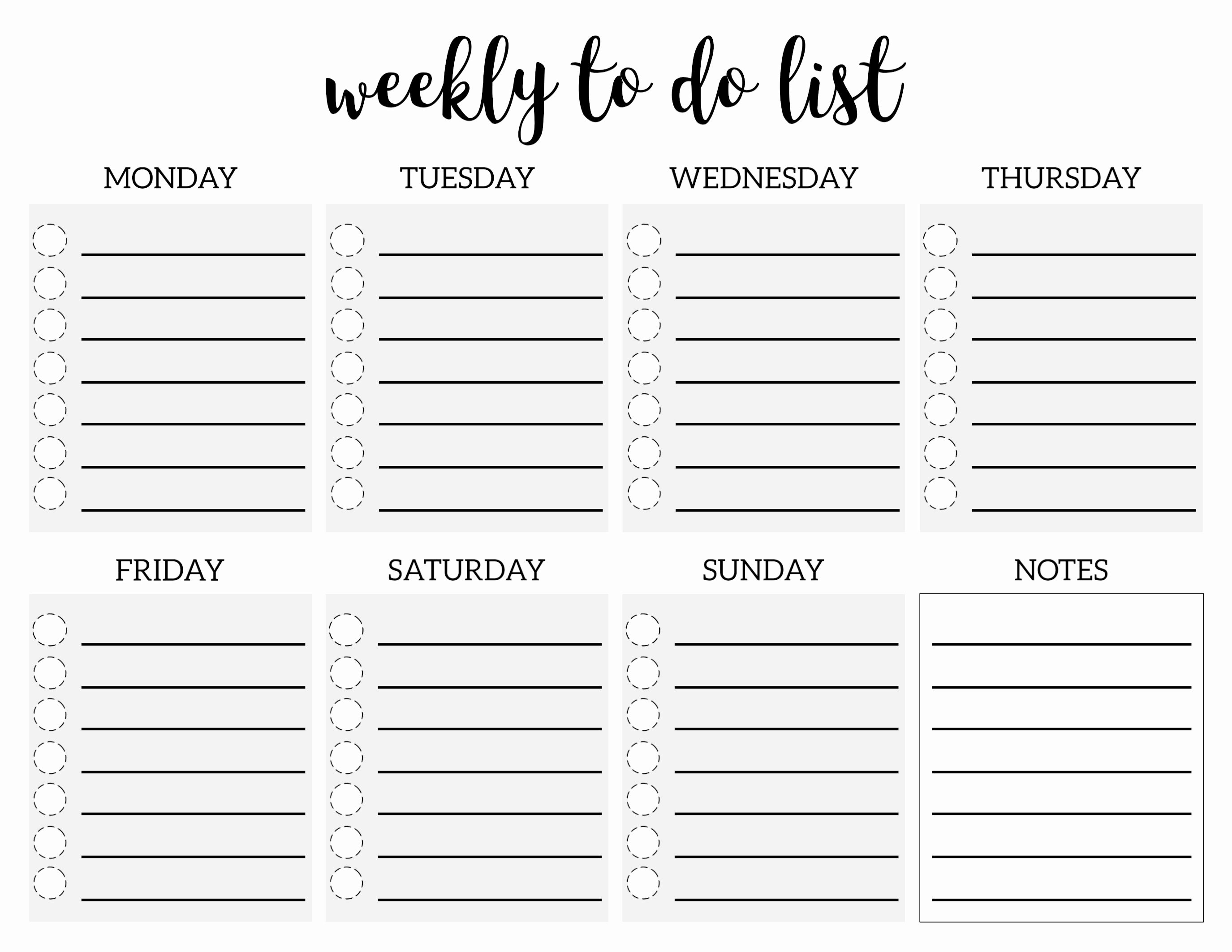 Monthly to Do List Template Lovely Weekly to Do List Printable Checklist Template Paper