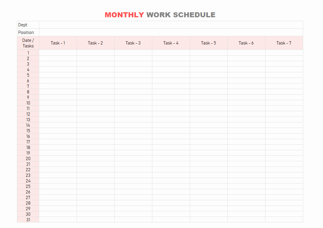 Monthly Work Schedule Template Excel Awesome Work Schedule Template Daily Weekly