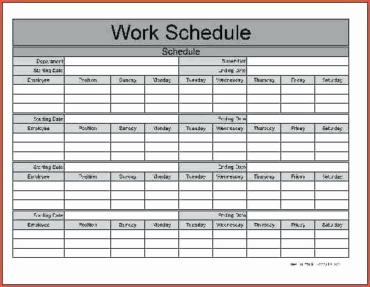 Monthly Work Schedule Template Excel Beautiful Week Work Schedule Template Weekly Memo Templates Free