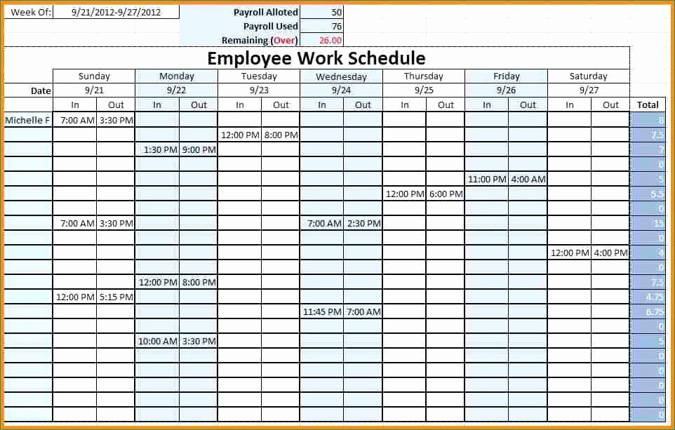 Monthly Work Schedule Template Excel New Blank Work Schedule Likeable Monthly Employee Schedule