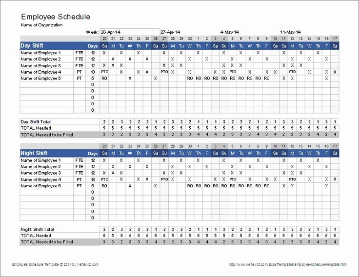 Monthly Work Schedule Template Excel Unique Download the Employee Schedule Template From Vertex42