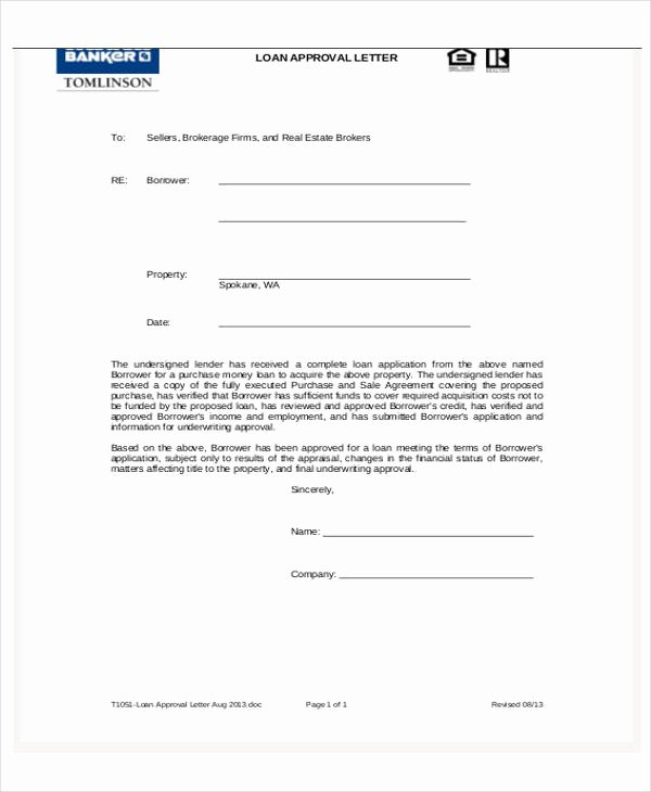 Mortgage Pre Approval Letter Template Best Of Loan Letter Templates 9 Free Sample Example format