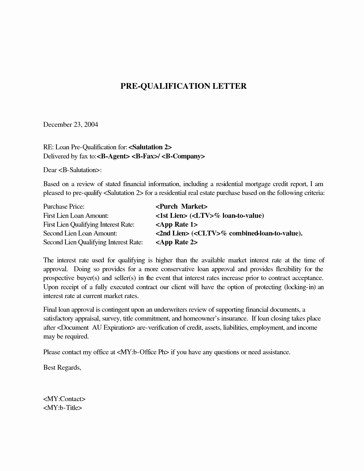 Mortgage Pre Approval Letter Template Best Of Mortgage Pre Qualification Letter Template Samples