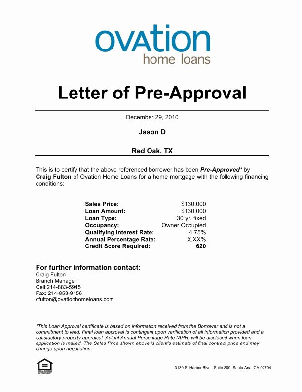 Mortgage Pre Approval Letter Template Best Of Pre Approval Letter Template Ten Unexpected Ways Pre