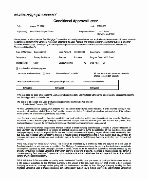 Mortgage Pre Approval Letter Template Fresh 15 Business Letters