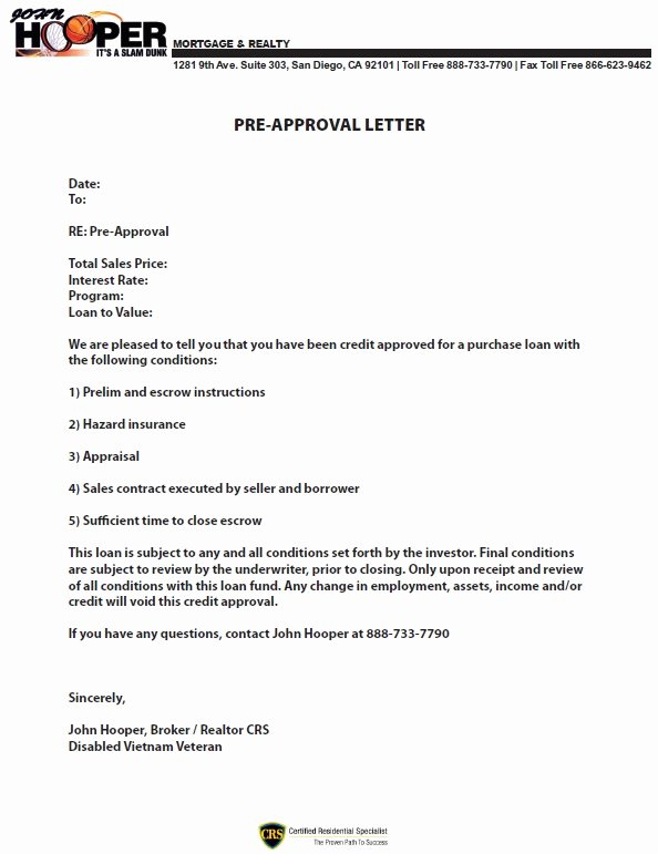 Mortgage Pre Approval Letter Template Luxury Preapproval Letter
