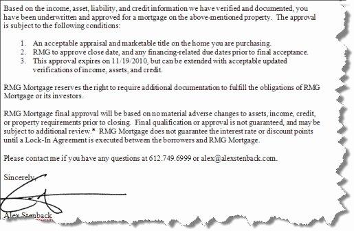 Mortgage Pre Approval Letter Template Unique Mortgage Pre Approval Letter Letter Template