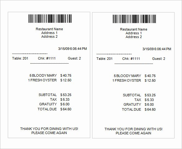 Motel 6 Receipt Template New Sample Receipt Template – 6 Free Word Excel Pdf format