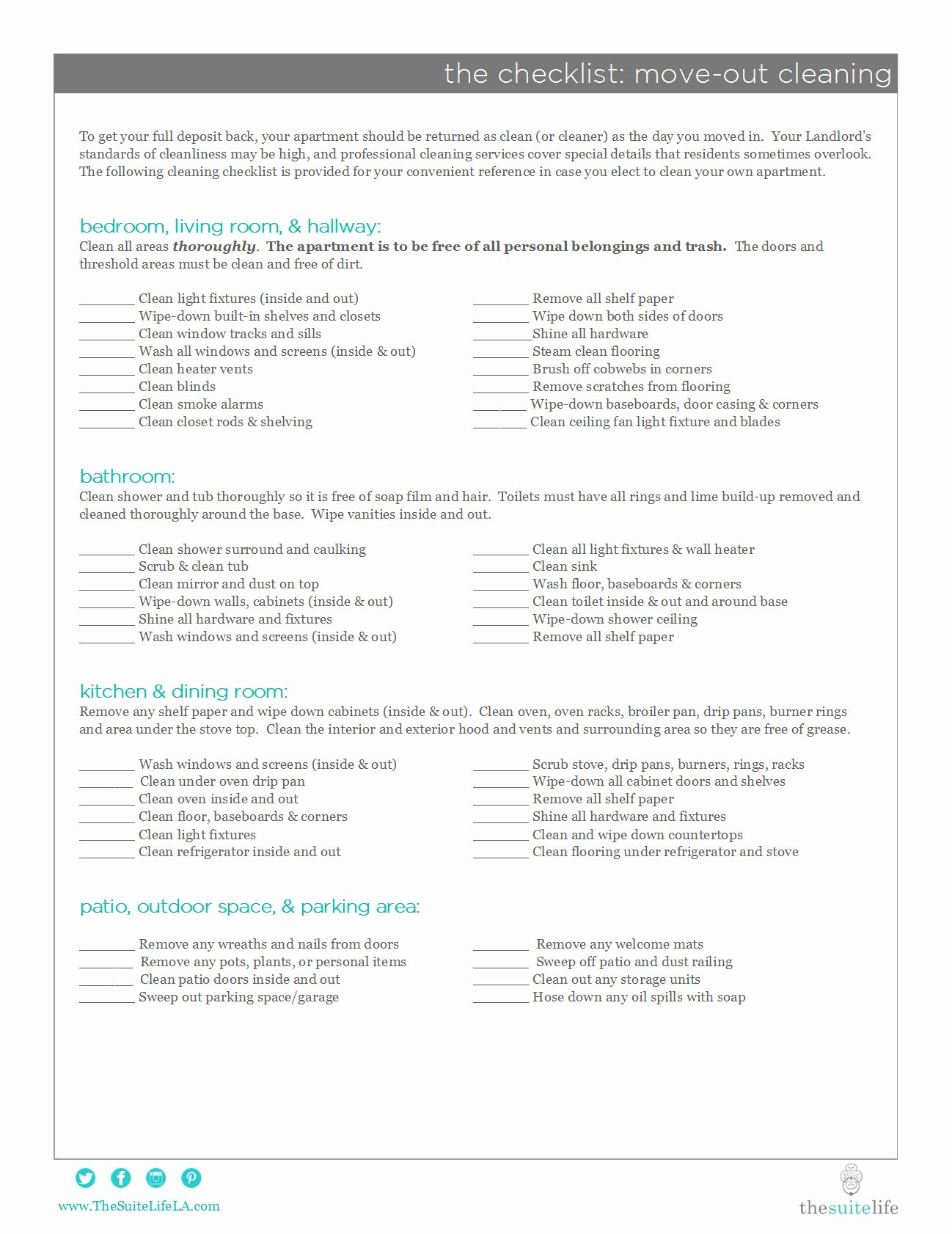 Move Out Cleaning Checklist Template Beautiful the Suite Life Move Out Cleaning Checklist