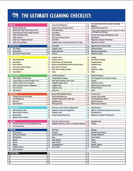 Move Out Cleaning Checklist Template Best Of the Ultimate House Cleaning Checklist Printable Pdf