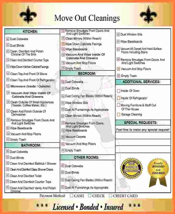 Move Out Cleaning Checklist Template Inspirational 10 Move Out Cleaning Checklist