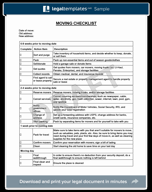 Move Out Cleaning Checklist Template Lovely Moving Checklist Template