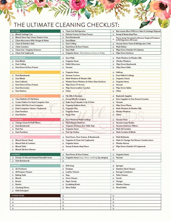 Move Out Cleaning Checklist Template Luxury the Ultimate House Cleaning Checklist Printable Pdf