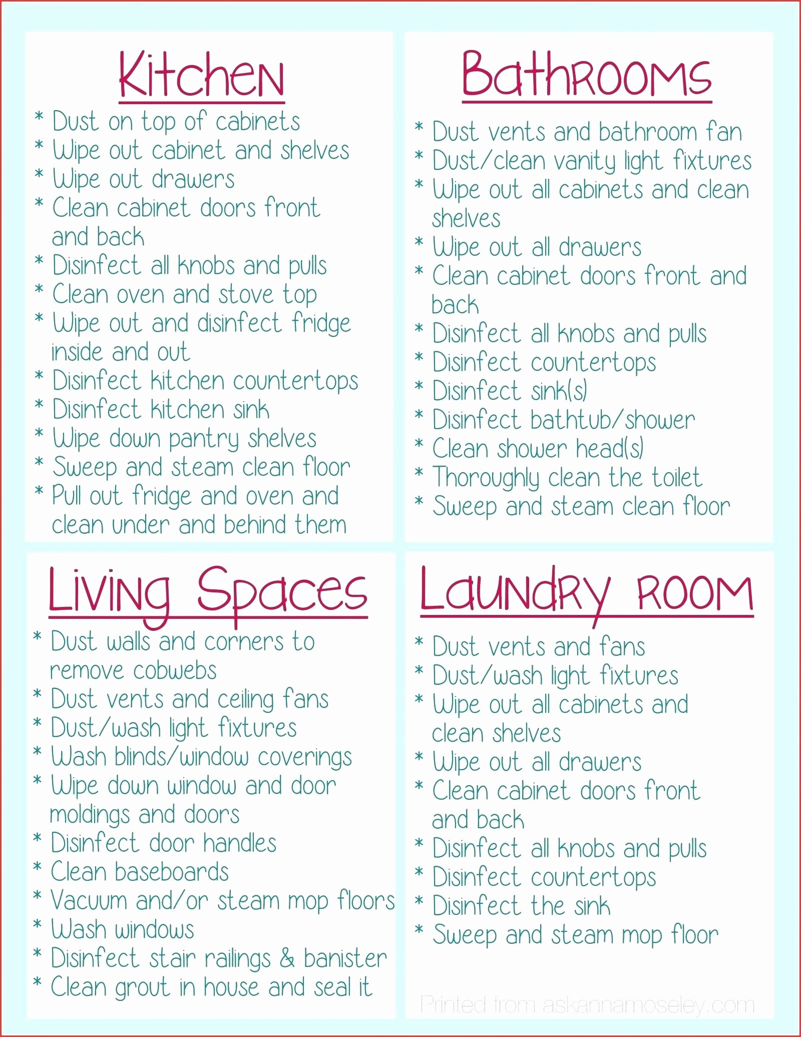 Move Out Cleaning Checklist Template Unique Classroom Cleaning Checklist Template