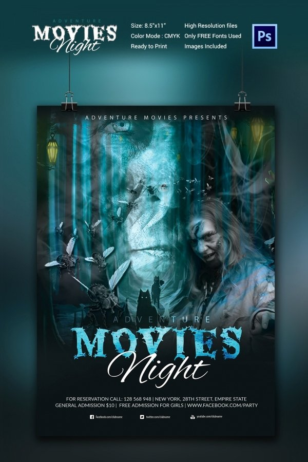 Movie Poster Design Template Lovely Movie Night Flyer Template 25 Free Jpg Psd format