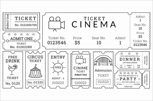 Movie Ticket Template for Word Awesome 30 Free Movie Ticket Templates Printable Word formats