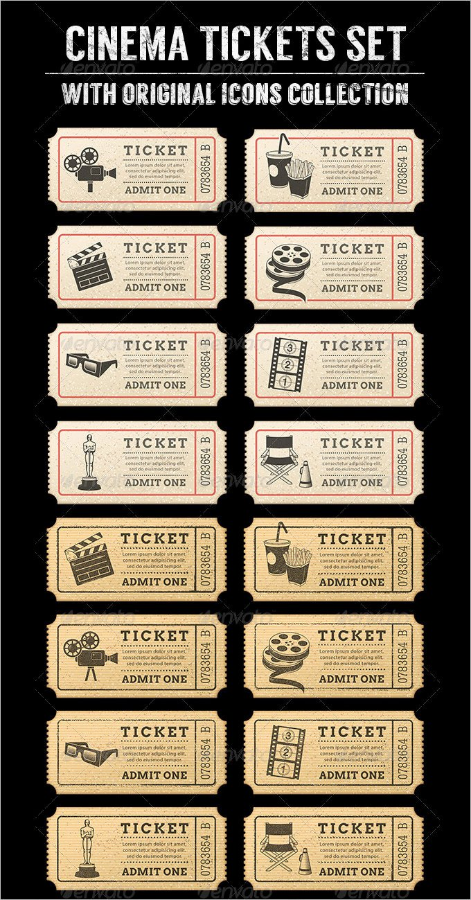 Movie Ticket Template for Word Beautiful Movie Ticket Templates Free Word Eps Psd formats – thefreedl