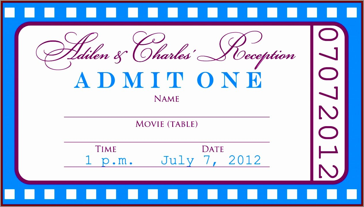 Movie Ticket Template for Word Elegant 12 Movie Ticket Template for Word Yoiue
