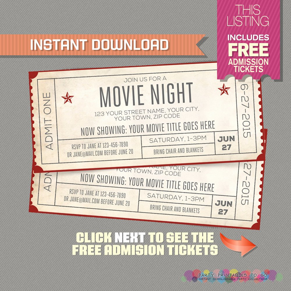 Movie Ticket Template for Word Elegant Template Movie Ticket Invitation Template