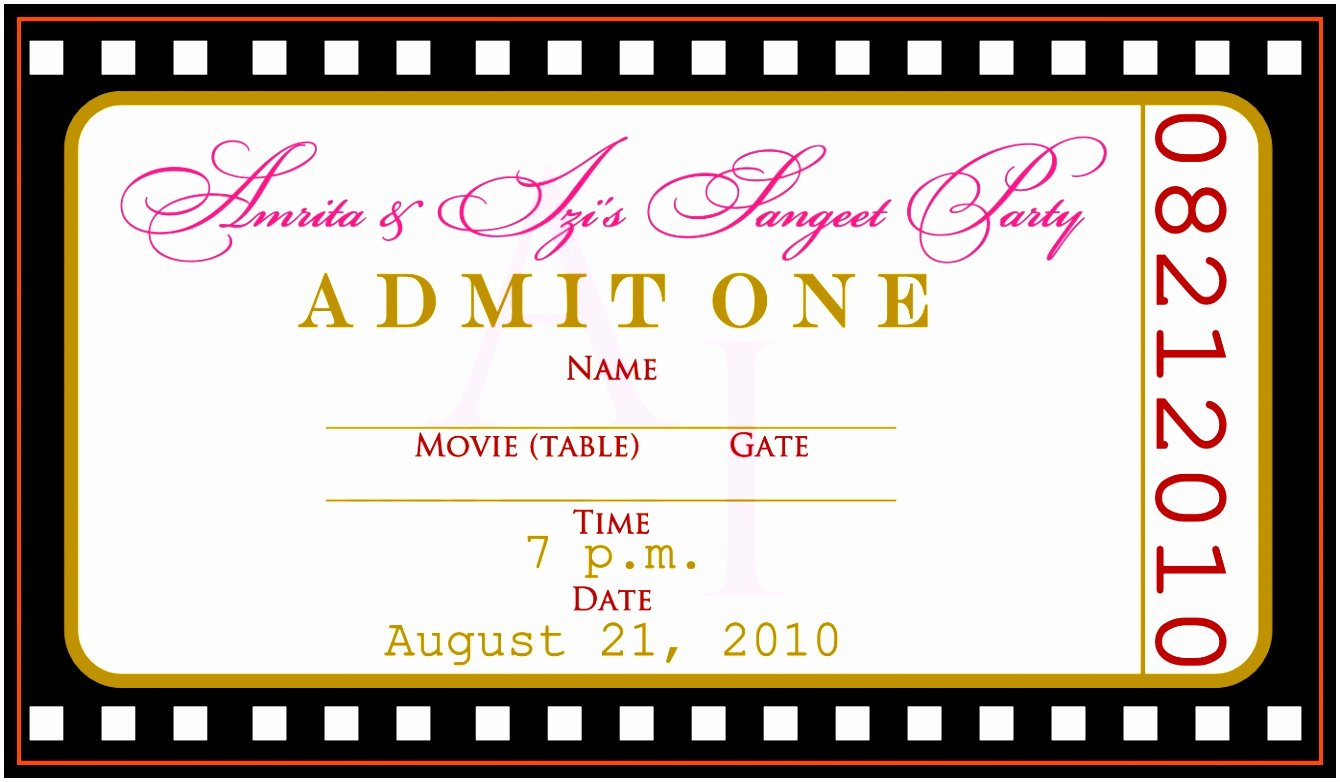 Movie Ticket Template for Word Lovely 12 Concert Ticket Invitation Template Free Uottu