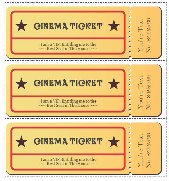 Movie Ticket Template for Word Luxury 6 Movie Ticket Templates to Design Customized Tickets
