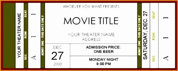 Movie Ticket Template for Word New Movie Ticket Template for Word Luxury Movie Ticket