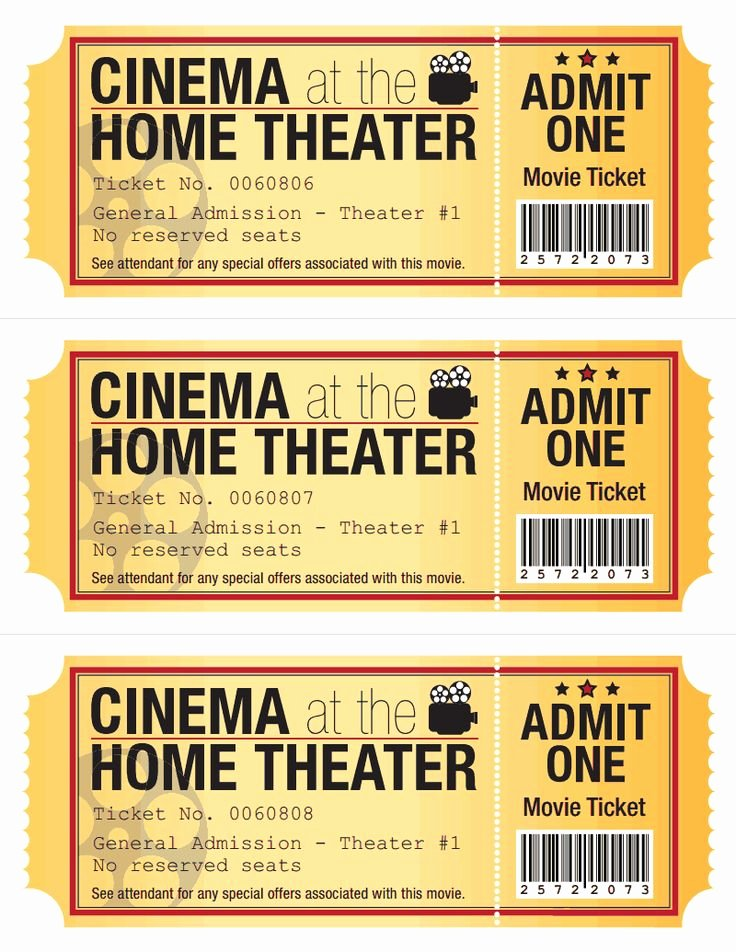 Movie Ticket Template for Word New Pinterest