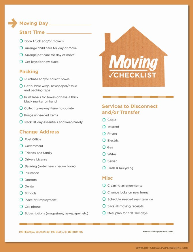 Moving Checklist Printable Template Elegant Free Printable Moving Checklist Blog