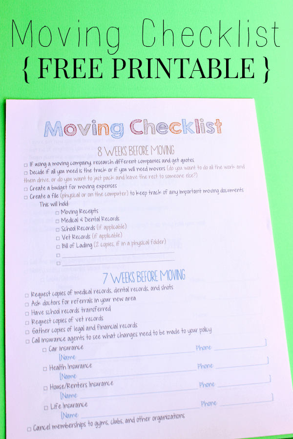 Moving Checklist Printable Template Elegant Moving Checklist Printable