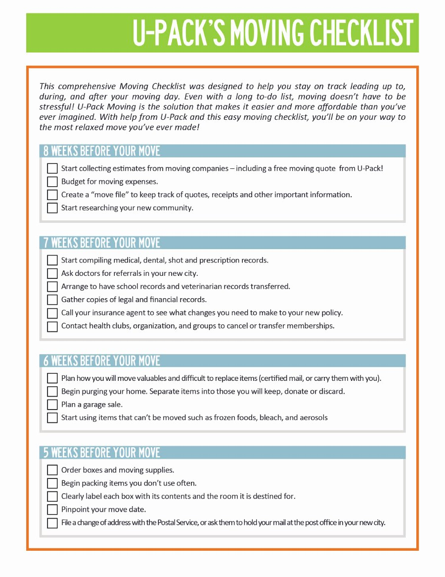 Moving Checklist Printable Template Fresh 45 Great Moving Checklists [checklist for Moving In Out