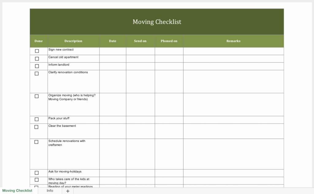 Moving Checklist Printable Template Fresh Free Moving Checklist
